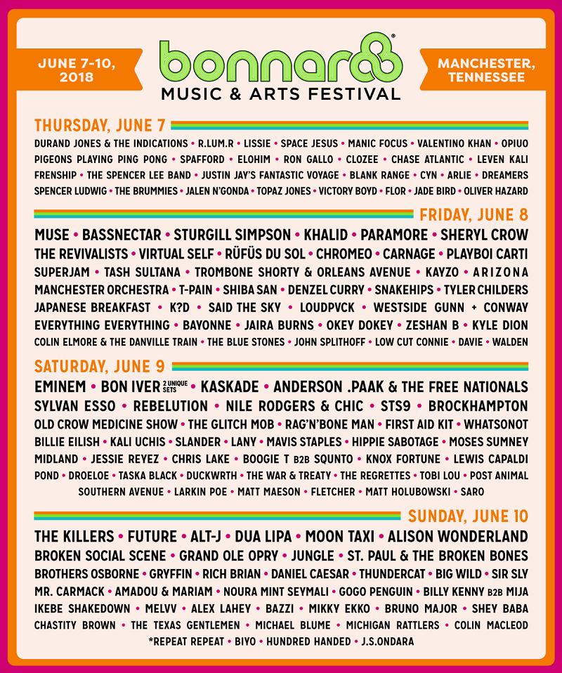 Bonnaroo Music & Arts Festival 2018 LineUp