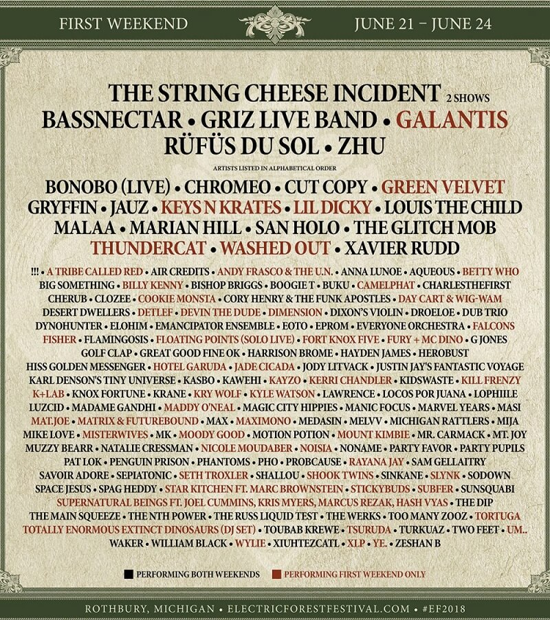 Electric Forest 2018 Weekend 1 Lineup