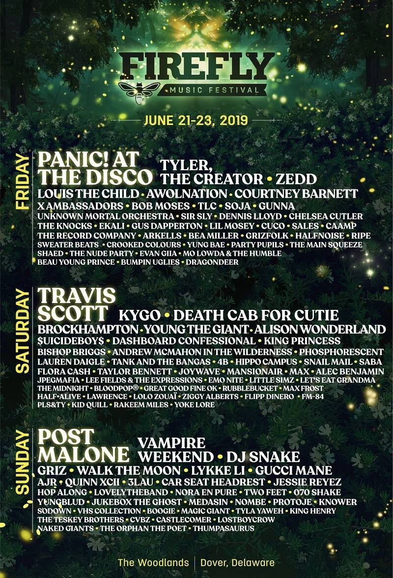 Firefly Music Festival 2019 Lineup