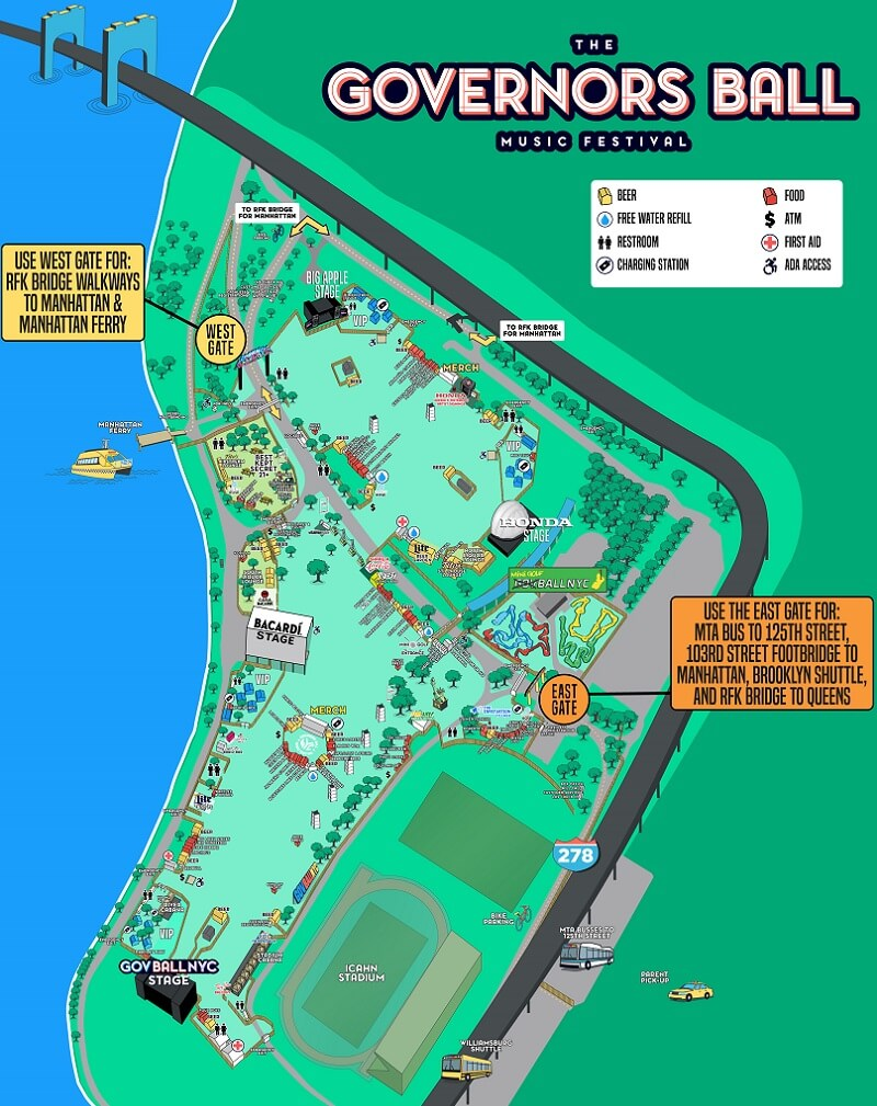 Governors Ball Festival Map