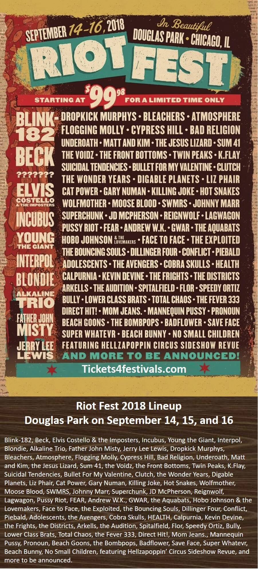Riot Fest Chicago 2018 LineUp