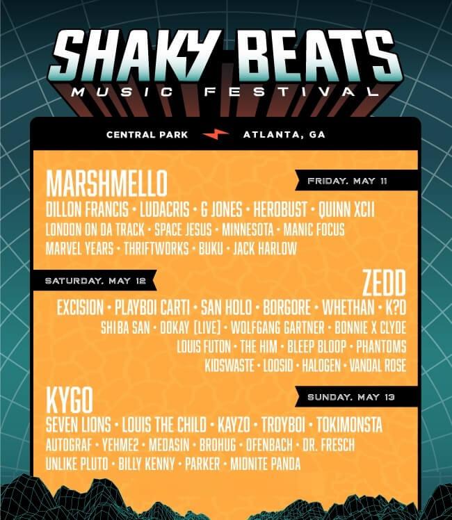 Shaky Beats Music Festival 2018 Lineup