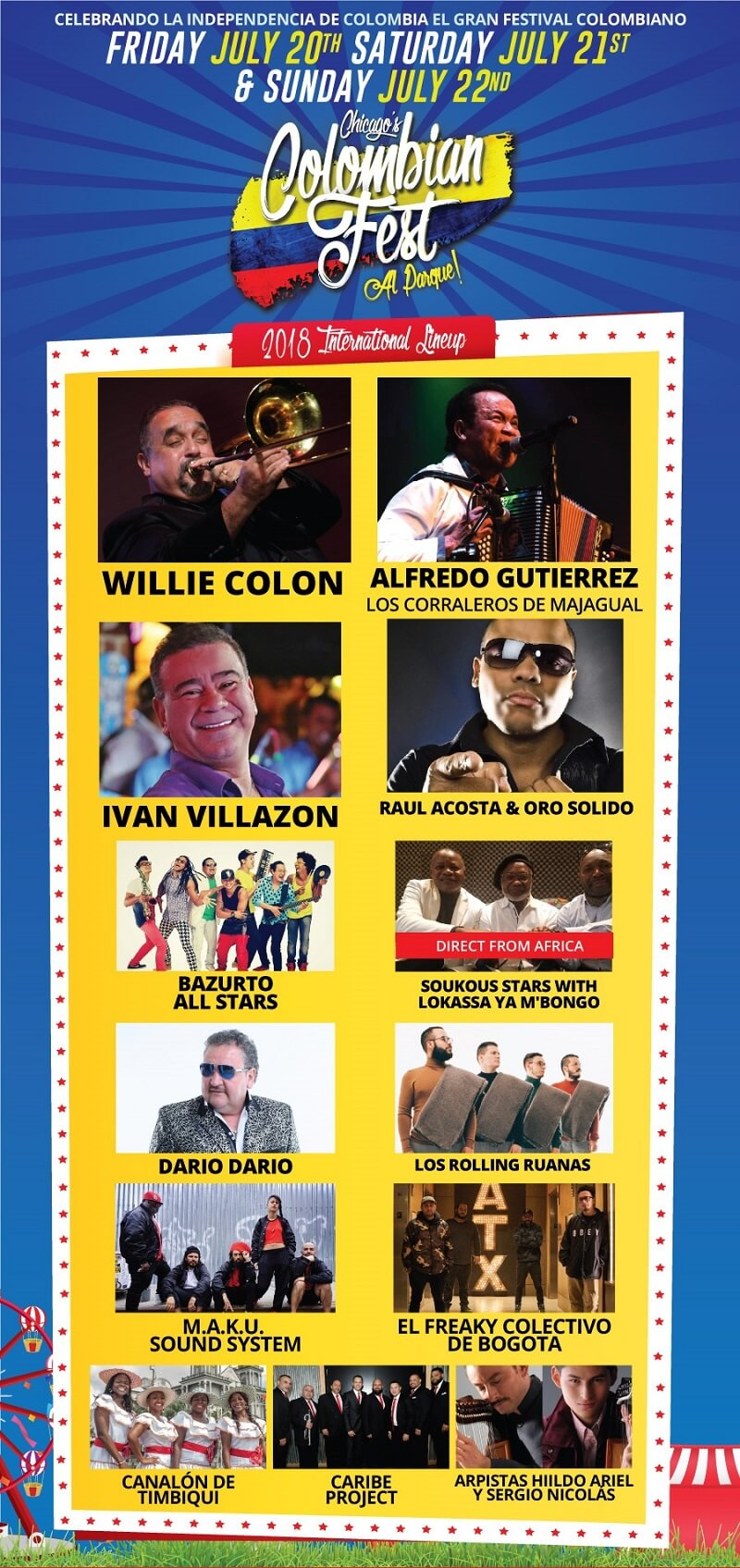Colombian Festival 2018 lineup