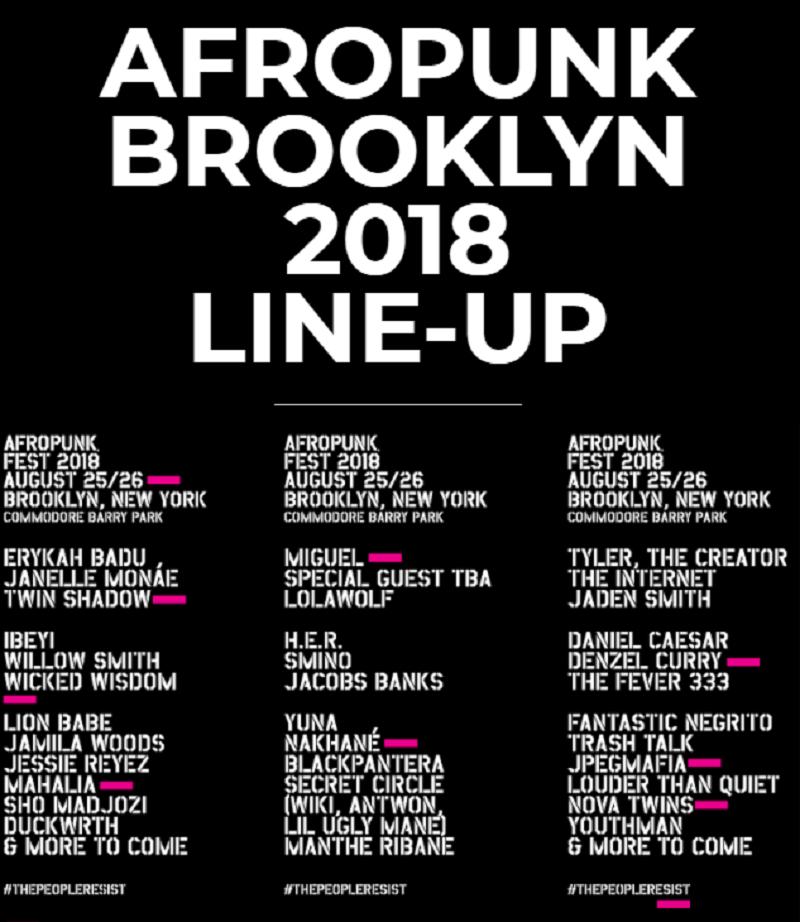 Afropunk Festival 2018 lineup