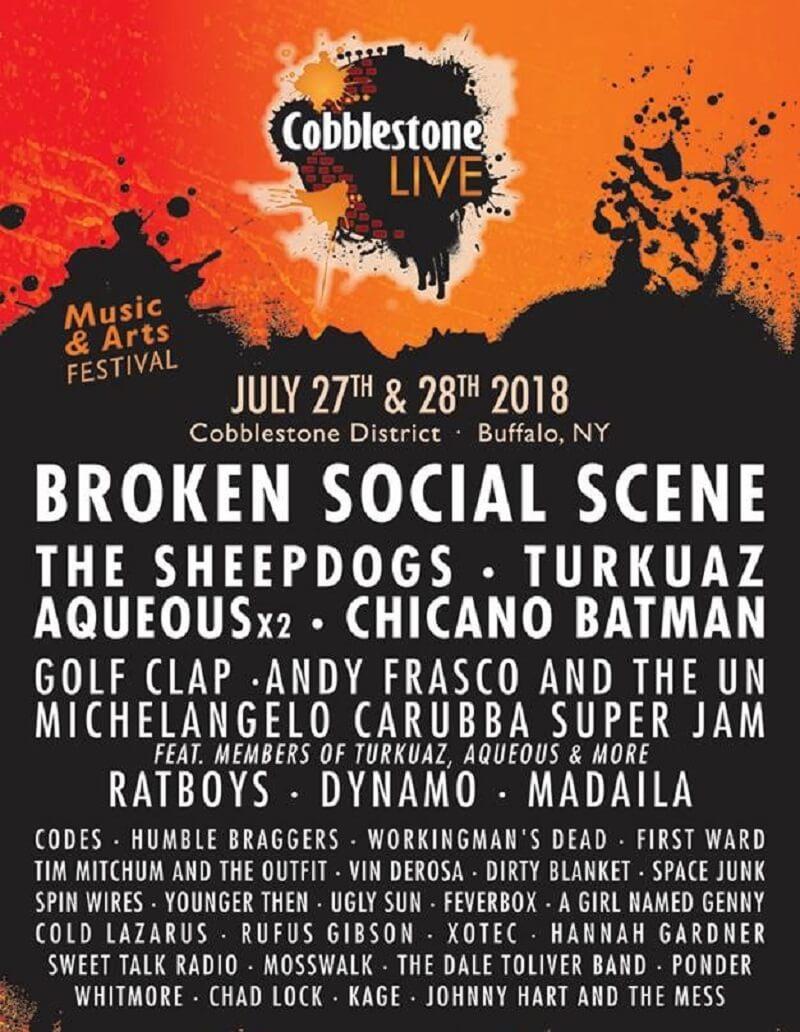 Cobblestone Live Music & Arts Festival 2018 Lineup