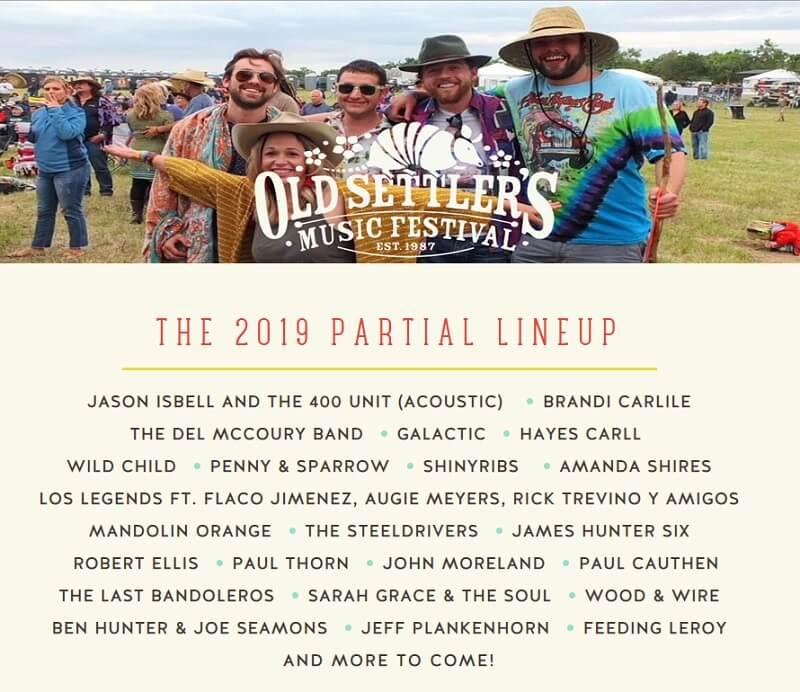 Old Settler's Music Festival 2019 Lineup