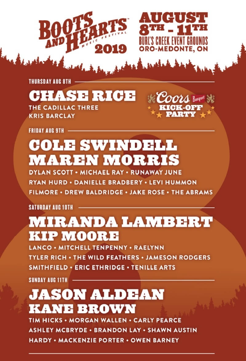 Boots and Hearts Music Festival Lineup