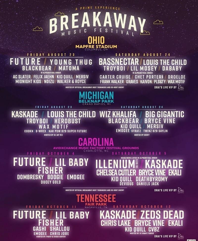 Breakaway Music Festival 2019 Lineup