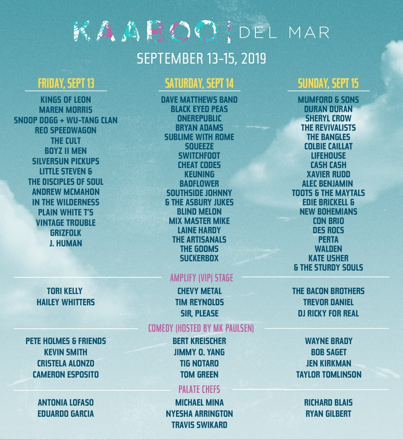 KaaBoo Festival Del Mar Lineup 2019