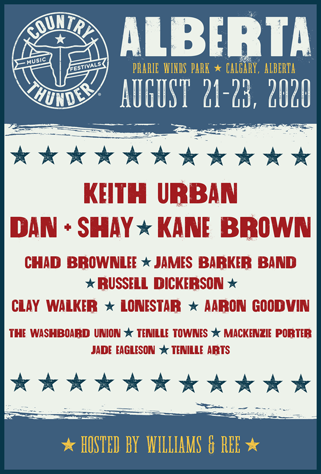 The Country Thunder Alberta 2020 Lineup