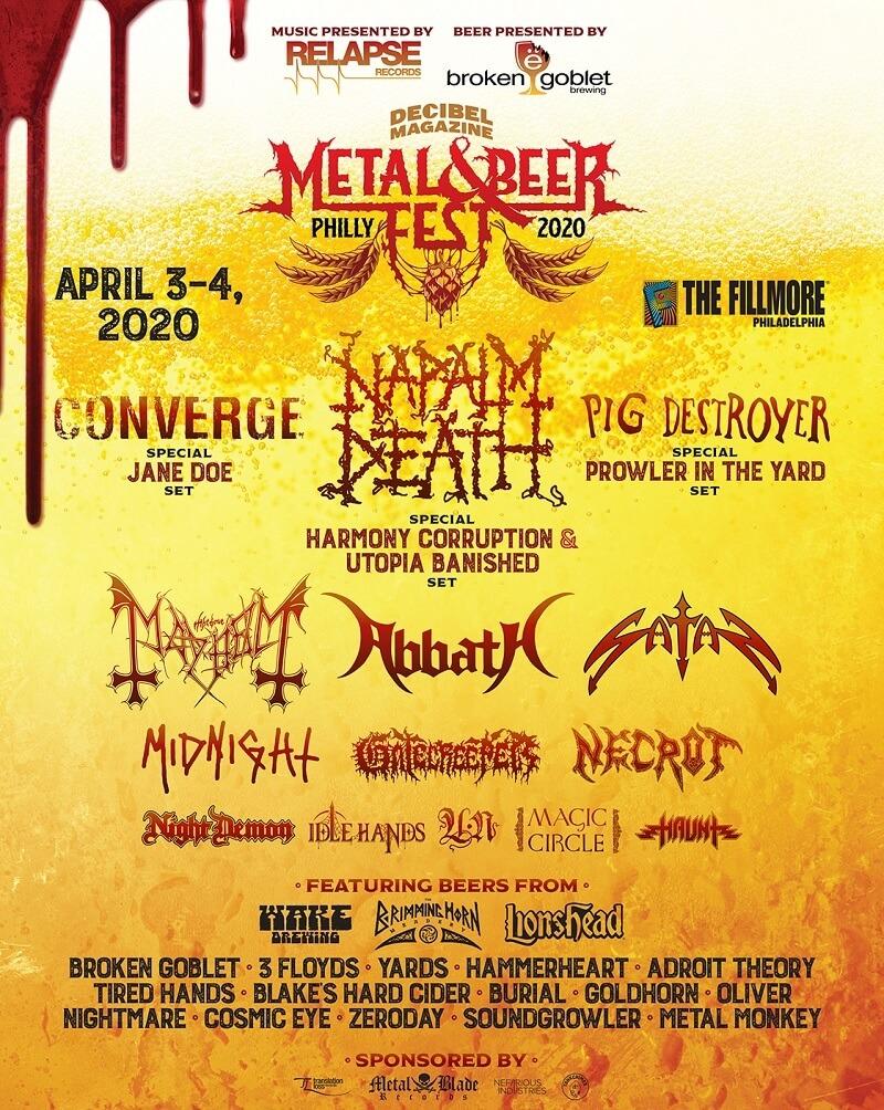 Decibel Beer & Metal Metal Fest Lineup
