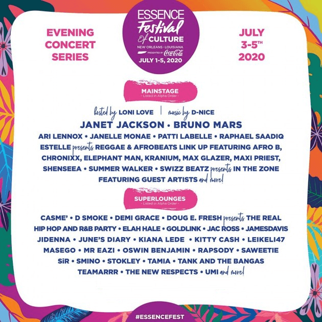 Essence Music Festival 2020 Lineup