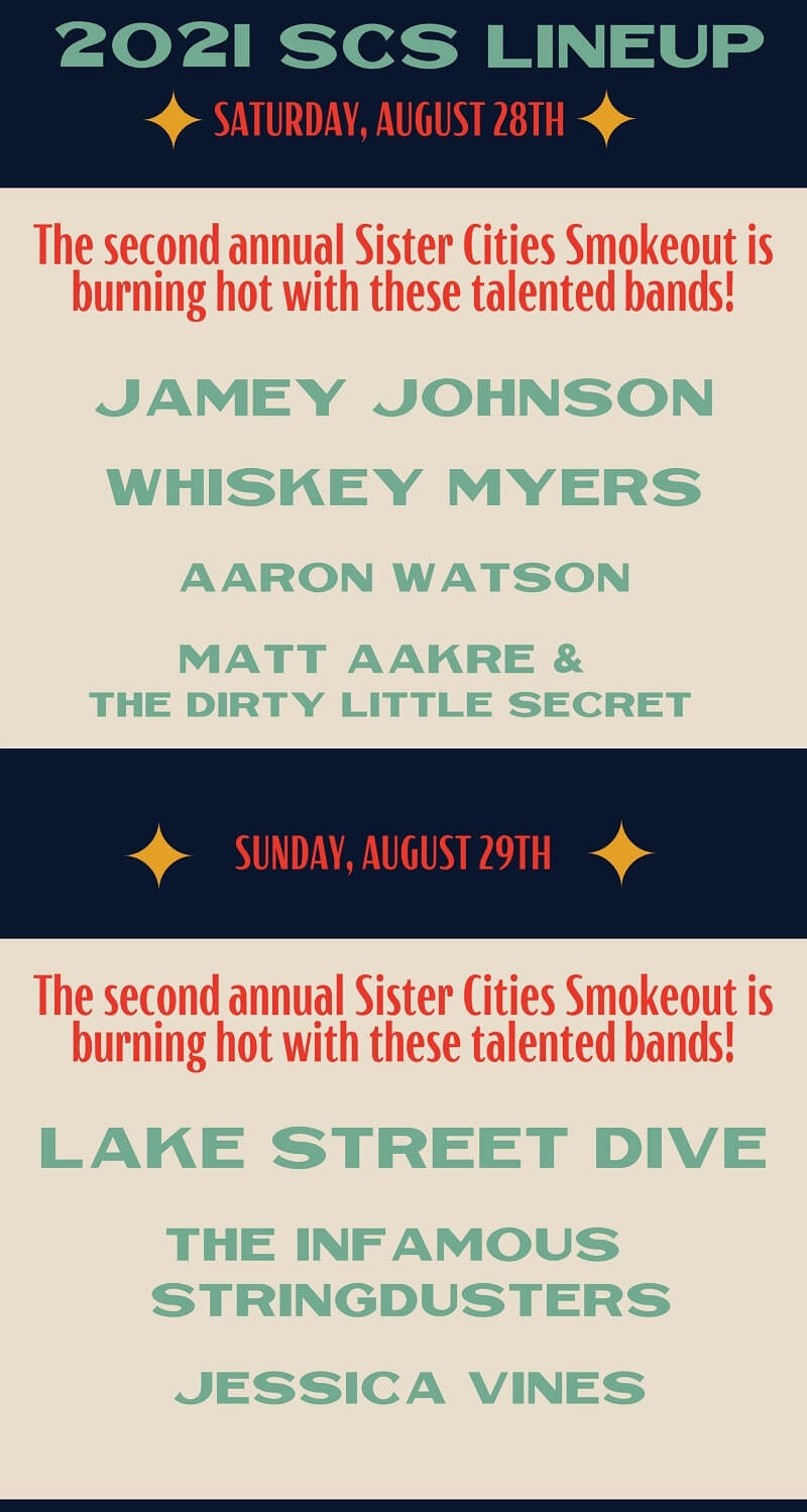Sister Cities Smokeout Festival Lineup 2021