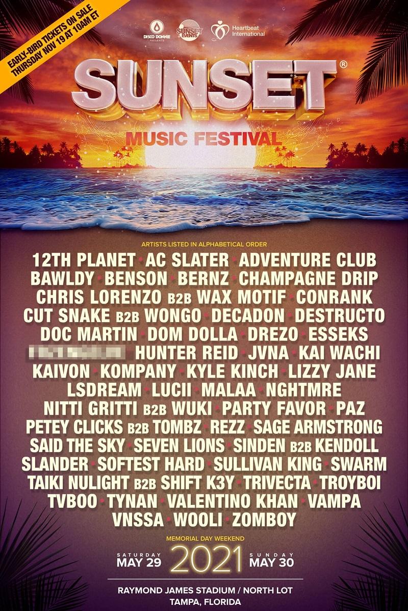 Sunset Music Festival Lineup 2021