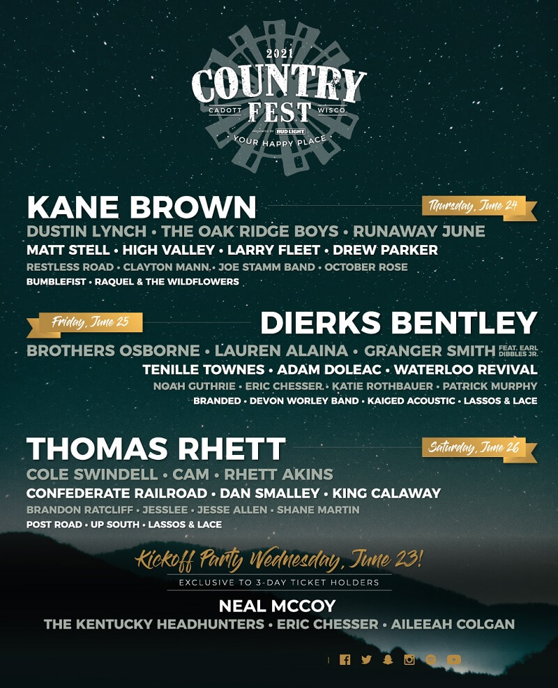 The Country Fest Lineup 2021