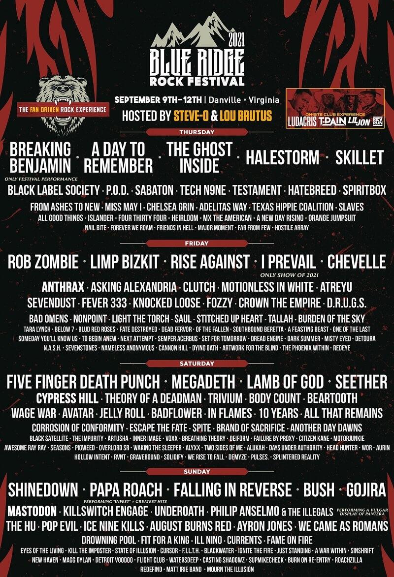 Blue Ridge Rock Festival Lineup 2021