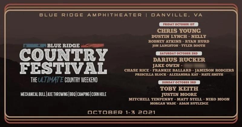 Blue Ridge Country Festival Lineup 2021